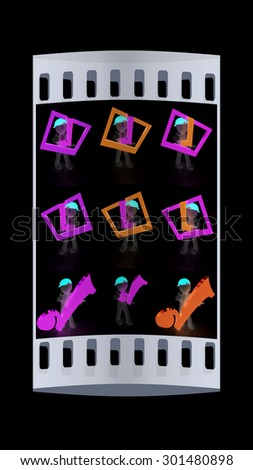 Set of 3d man in a red peaked cap with thumb up and a huge tick on a white background. The film strip - stock photo