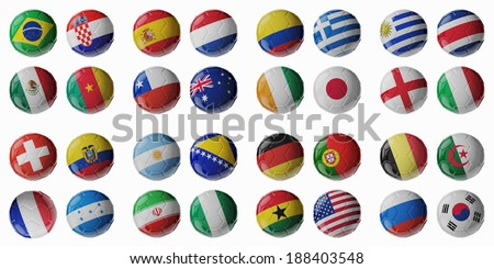 Set of 3d soccer balls with flags - stock photo