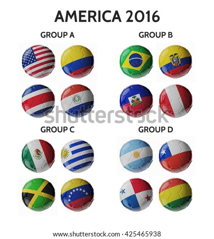 Set of 3d soccer balls with flags. - stock photo