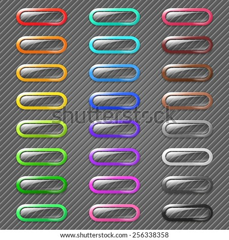 Set of 3d transparent web buttons with colored border. Raster version - stock photo