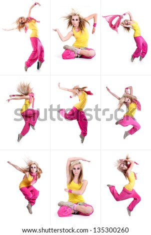 set of dancing girl. isolated on a white background - stock photo