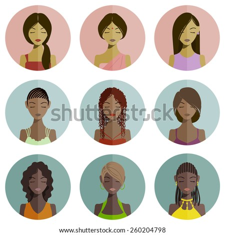Set of dark-skinned and indian women avatars for website and mobile application - stock photo