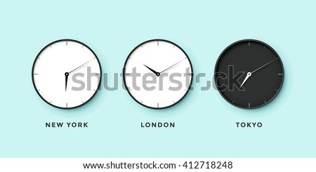 Set of day and night clock for time zones different cities. Black and white watch on a mint background. Illustration - stock photo