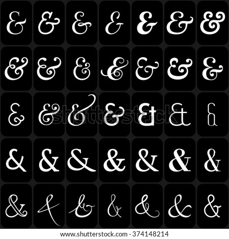 Set of decoration ampersands for letters and invitation on black background. Hand drawn type. Raster version. Ampersand set. Ampersand image. - stock photo