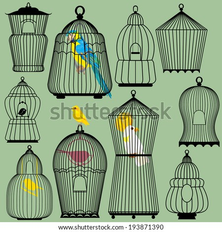 Set of decorative bird cage Silhouettes and birds - parrots and canary. Raster version