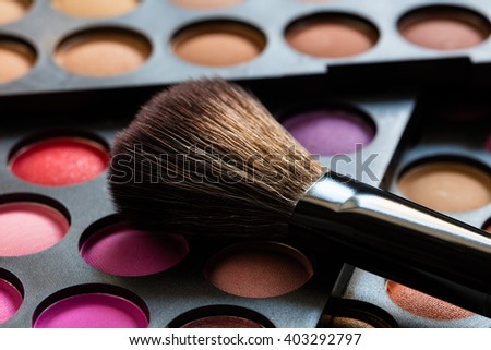 set of decorative cosmetics, Eyeshadow Palette and brush