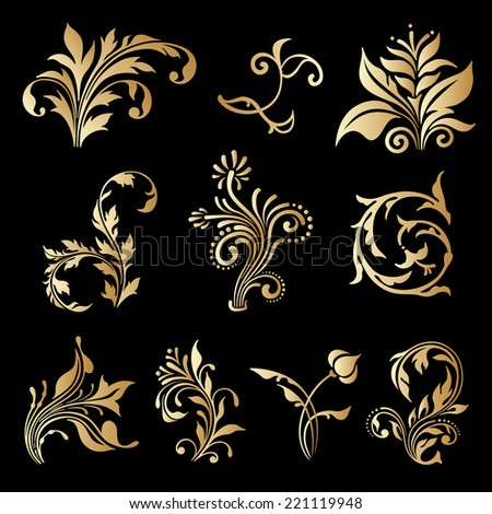 Set of decorative elements for design, print, embroidery. Raster version. - stock photo