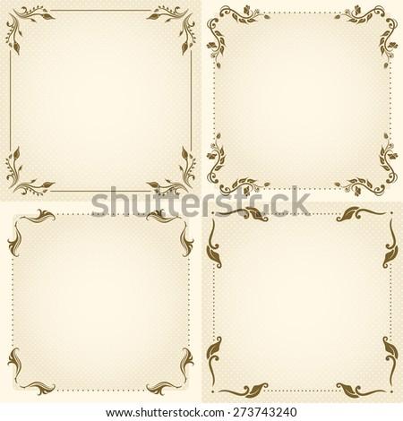 Set of decorative floral vintage frame for design. Raster version. - stock photo