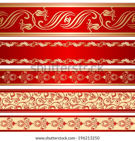 Set of decorative ribbon with floral seamless pattern. Raster version. - stock photo