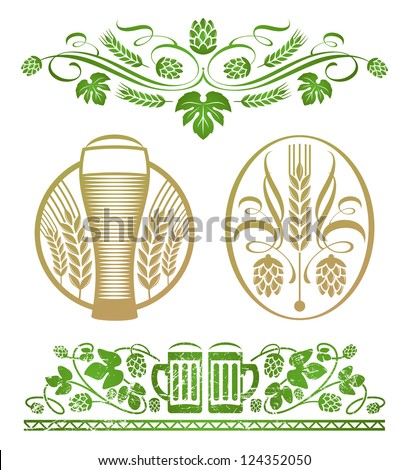 Set of decorative stylized hop and beer - stock photo