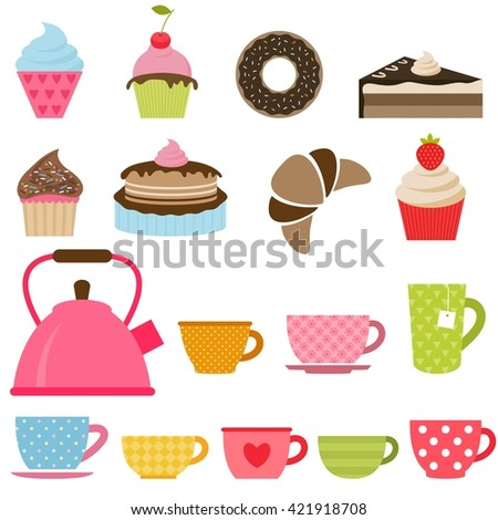 Set of delicious cakes, cupcakes and tea cups. Raster version - stock photo
