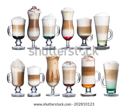 Set of delicious coffee and coffee cocktails in transparent glasses. Irish coffee