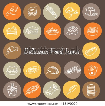 Set of delicious food icon in doodle style