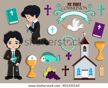 Set of design elements for First Communion for boys. - stock photo