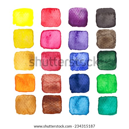Set of design elements: hand painted multicolored watercolor squares isolated on white background