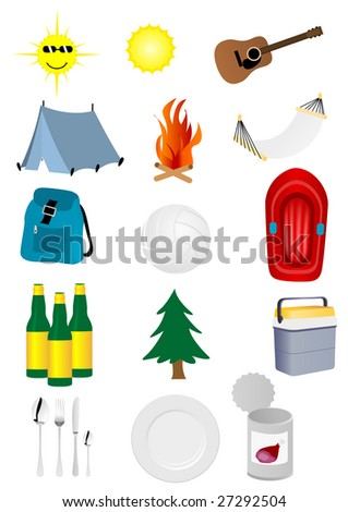 Set of detailed camping and excursion elements - stock photo
