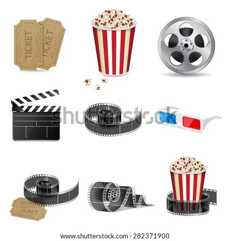Set of detailed movie icons