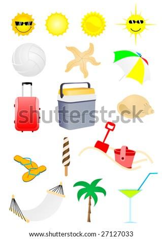 Set of detailed summer holiday elements - stock photo