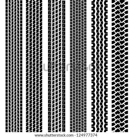 Set of detailed tire prints,  illustration - stock photo