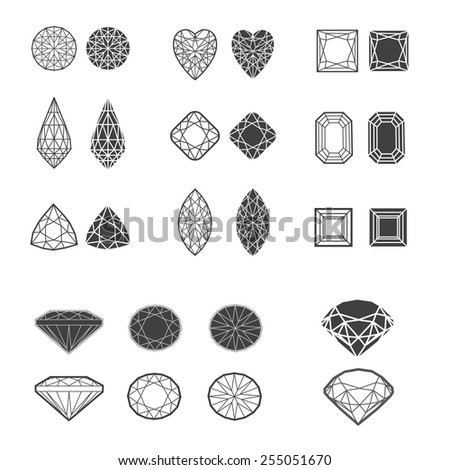 Set of diamond design elements - cutting samples - stock photo