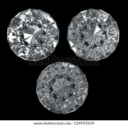 Set of diamonds on black BG - isolated with clipping path - stock photo