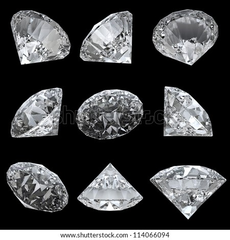Set of 9 diamonds with clipping path - stock photo