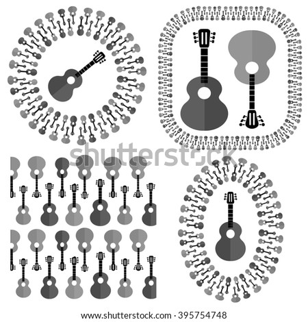 Set of Different Acoustic Guitars Silhouettes - stock photo