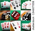 set of different actions with cards and dice in casino - stock photo