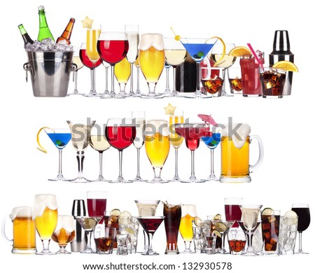 Set of different alcoholic drinks and cocktails - beer,martini,soda,champagne,whiskey,wine,cola,cocktail