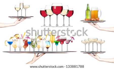 Set of different alcoholic drinks and cocktails - beer,martini,soda,champagne,whiskey,wine,cola,cocktail - stock photo