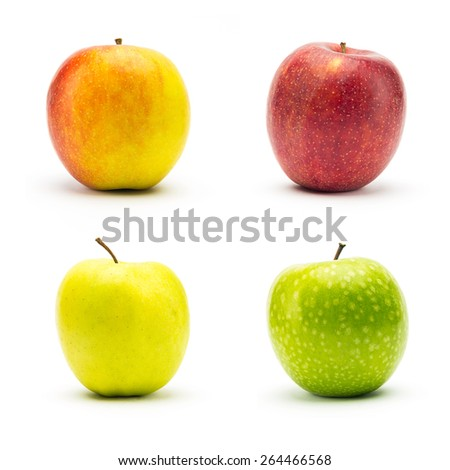 set of different apple varieties isolated on white background - stock photo