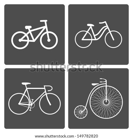 Set of different bike icons. See also vector version - stock photo