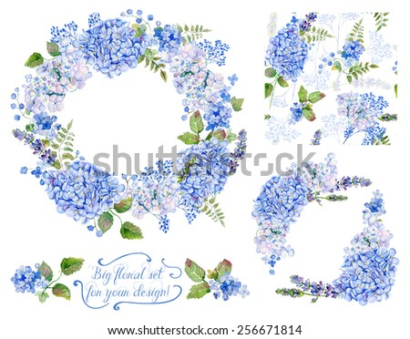 Set of different  blue, cyan  hydrangea, lavender, currant, frame, decorative corners and one seamless pattern  for design. Watercolor flowers, leaves. Floral set for your design. - stock photo
