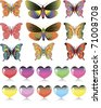 set of different butterflies and hearts - stock vector