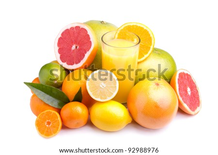 set of different citrus fruit and juice on white background