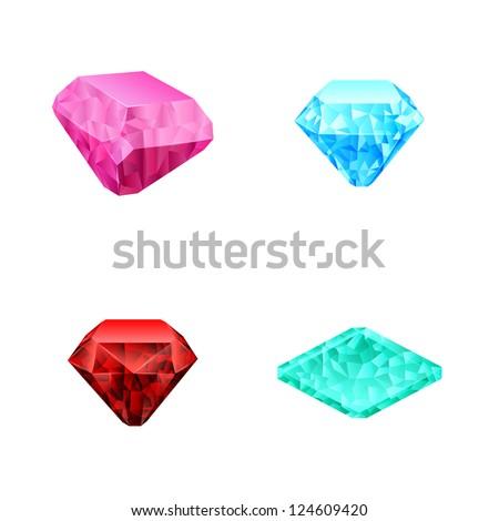 set of different color diamonds - stock photo