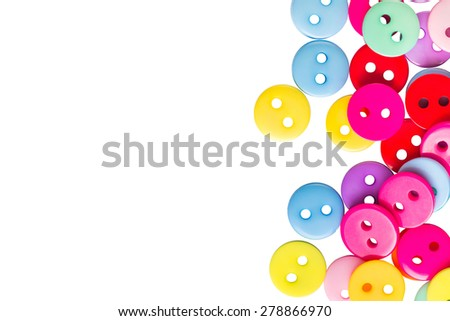 set of different colored buttons, studs isolated on white background, top view, closeup - stock photo