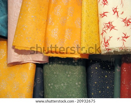 Set of different colored fabrics - stock photo