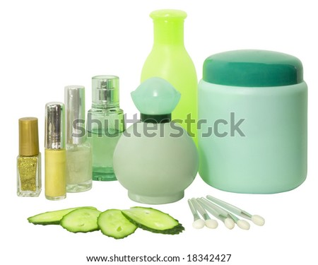 set of different colorful cosmetics isolated over white with clipping path