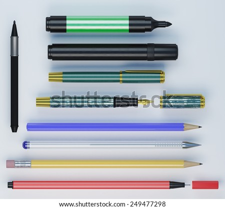 Set of different colorfull office tools laying side by side - stock photo