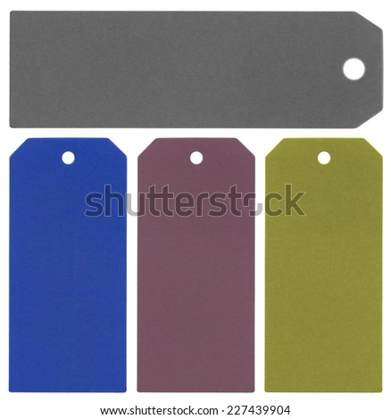 set of different colors blank cardboard tags on white - stock photo