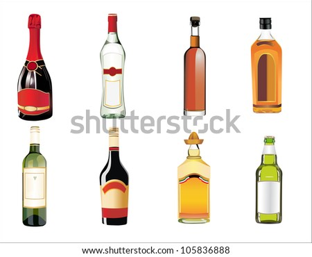 Set of different drinks and bottles on the wall