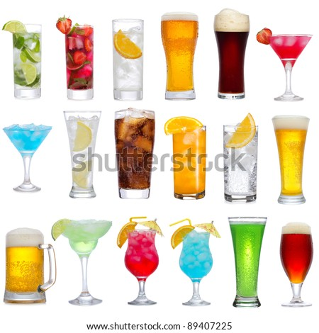 Set of different drinks, cocktails and beer on white background - stock photo