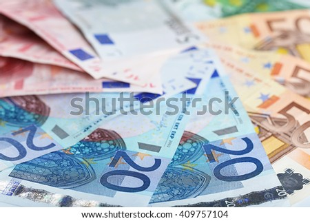 Set of different euro banknotes, background - stock photo