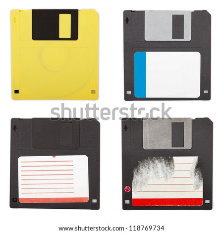Set of different floppy discs, isolated on white background with clipping paths - stock photo