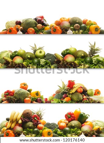 Set of different fresh tasty vegetables isolated on white - stock photo