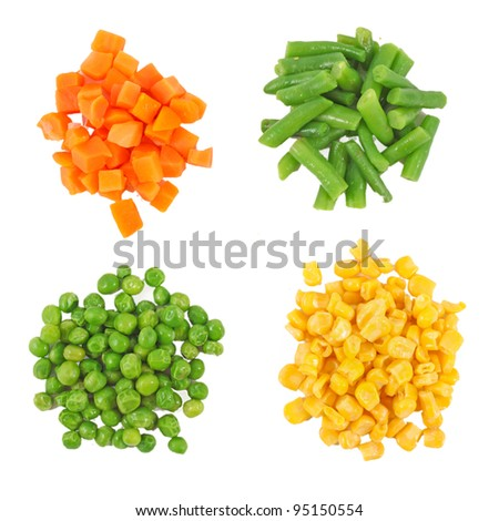 set of different frozen vegetables isolated on white - stock photo