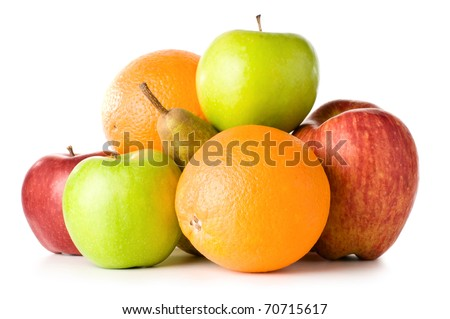 set of different fruits isolated on white - stock photo