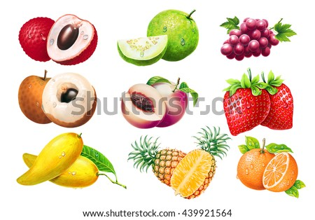 set of different fruits ( LYCHEE , Guava , Grape , Longan , Strawberry , Peach , Pineapple , orange ) isolated on a white background - stock photo
