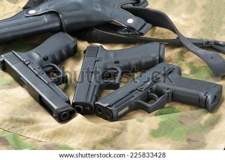Set of different guns - stock photo
